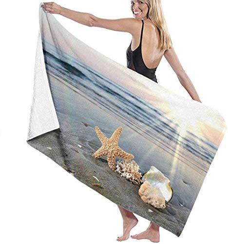 Toalla de Playa Seashells Starfish Beach Surf Sky Microfibra Grande para niños Adultos Ideal para Nadar Viajes Yoga Deportes Camping Cubierta de Tumbona Toalla de Ducha de baño 80X130 Cm