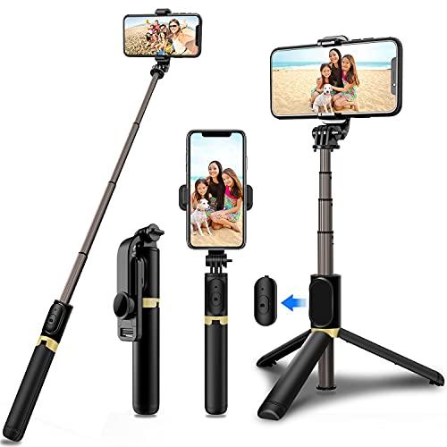 Bluetooth Selfie Stick Stativ, 360°Rotation Selfiestick Monopod mit Fernbedienung kabellos Selfie-Stange für iPhone Android Smartphones
