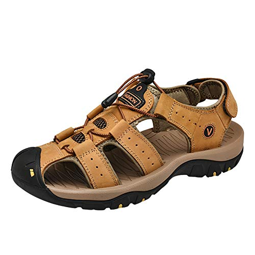 MGW Sandals Deportivas Hombres Verano Exterior Zapatos Trekking Casual Montaña Sandalias de Playa, Ideal para Deportes Aire Libre Ocio Viajes Correr Ciclismo,Amarillo,EU45/US10/UK9