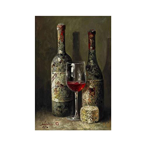Carteles e impresiones de frutas de botella de vino tinto vintage Pintura al óleo sobre lienzo Imagen de arte de pared escandinavo Cocina Habitación Decoración de café -50x70cm Sin marco