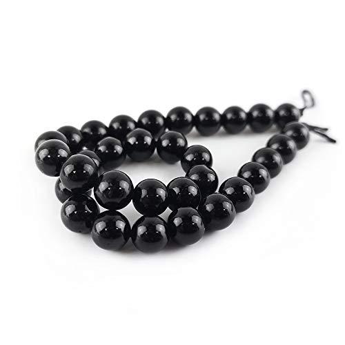 Filo 30+ Nero Tormalina 6mm Tondo Perline HA05255 (Charming Beads)
