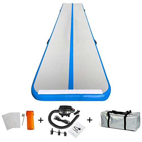 86 York 10ft 13ft 16ft 20ft Inflatable Gymnastics Air Track Tumbling Mat with Pump for Gym/Home/Yoga/Training/Kids/Sport/Taekwondo/Game (16ftx3.3ftx4in, Blue)