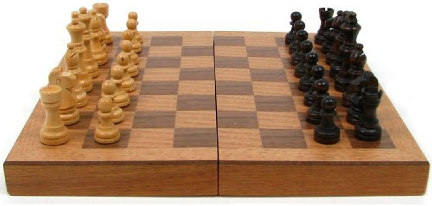 Trademark Games Chess Board Wooden Book Style with Staunton Chessmen Brown by Trademark Games