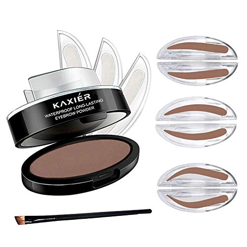 GL-Turelifes Eyebrow Stamp Powder Perfect Eyebrow Power Seal Nature Eye Brow Powder Delicate Shape with Brush (Light Brown)