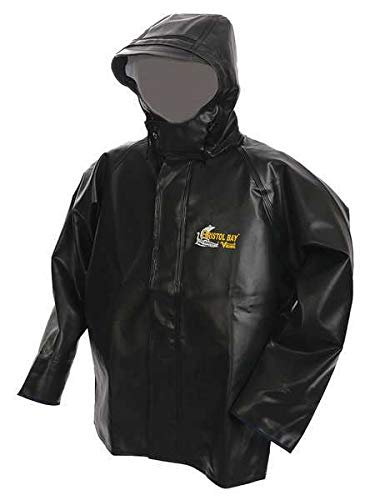 New Rain Jacket w/Hood, 0.75mm PVC, Green, L