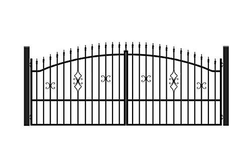 SO4 Einfahrtstor Hoftor Doppelflügeltor Gartentor Bellevue mit elektr. Antrieb und Riegelset 400 x 150 cm Komplett-Set inklusive 2 Torelementen, 2 Stahlpfosten und Beschlägen. Gesamtbreite ca. 421 cm