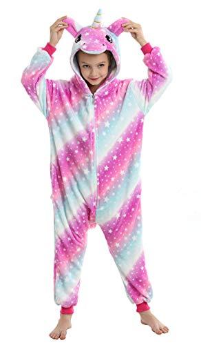 Ecparty Soft Unicorn Hooded Bathrobe Sleepwear for Kids Party Costume (Colorful Unicorns Rainbow Galaxy-08, 6-7T)