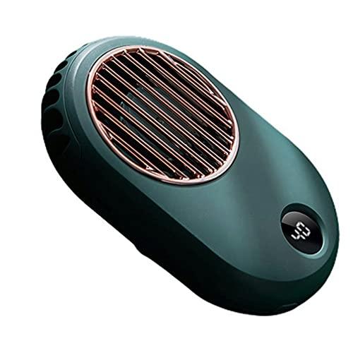 DAMAJIANGM Pantalla Digital Ventilador de Cuello Colgante USB Cuello Colgante Mini Ventilador silencioso de Mano Verde
