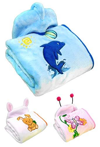 Chipe, Decke aus warmem und weichem 280GSM-Flanell. Umhüllende Winterdecke Babydecke Kinderdecke baumwolle, für Mädchen oder Jungen, Kindersitze, Kinderwagen, Kinderbetten. Blau