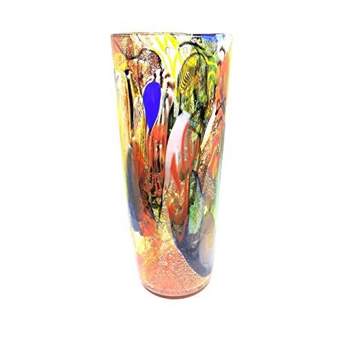 Murano Vaso in Vetro Grande Rosso Corallo con murrine Multicolore, filigrana, zanfirico e Foglia Argento Stile Bizantino Blown Glass Art