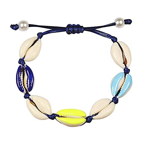 xiucai Pulsera infantil para mujer con concha, trenza, cadena de tobillo, cuerda ajustable, bohemia, verano, joyería para niños (color metálico: estilo 12)