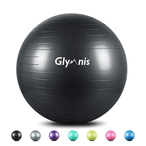 Glymnis Pelota de Ejercicio Pelota Anti-Burst para Pilates Gimnasia Fitness Embarazo Yoga Embarazo 55cm 65cm 75cm con Hinchador Negro (55cm)