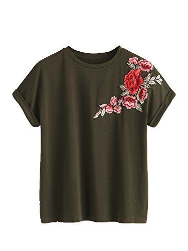 Romwe Women's Floral Embroidery Cuffed Short Sleeve Casual Tees T-Shirt Tops Army Green XL