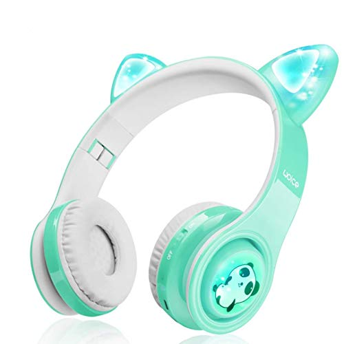 Woice Kabellose Bluetooth Kopfhörer für Kinder mit LED Blinklichter, Musikfreigabefunktion, langlebige Batterie und 85dB Lautstärkeregler Kinder-Bluetooth-Kopfhörer für, Mädchen (Minze)