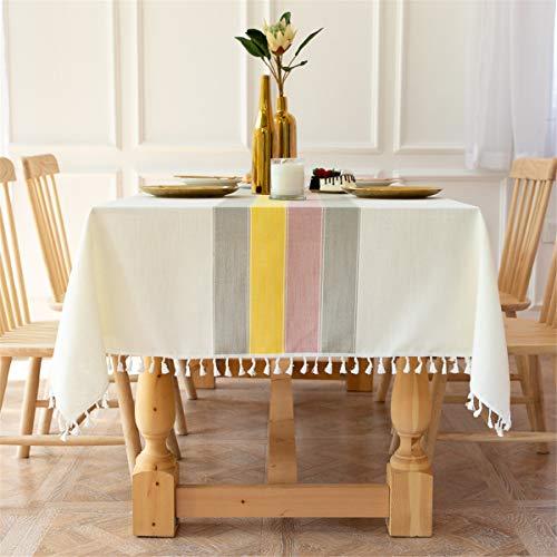 長方形6席テーブルクロスコットンリネン刺繍ステッチタッセルテーブルカバー用家の装飾パーティー結婚式屋外ベージュカラフル 140x220CM
