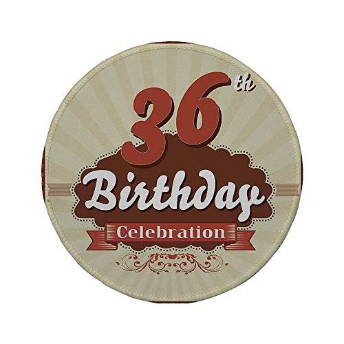 Rutschfreies Gummi-rundes Mauspad 36. Geburtstagsdekorationen Geburtstagsfeier laden Schokoladenfolie wie Bild ein Zimt und Braun 7,87 'x 7,87' x 3 mm