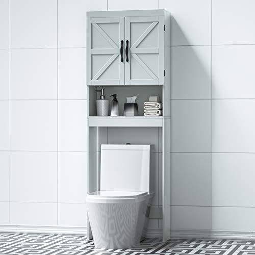SRIWATANA Over-The-Toilet Storage Cabinet, Bathroom Spacesaver with Adjustable Shelf, 2-Door Toilet Storage Rack, Gray