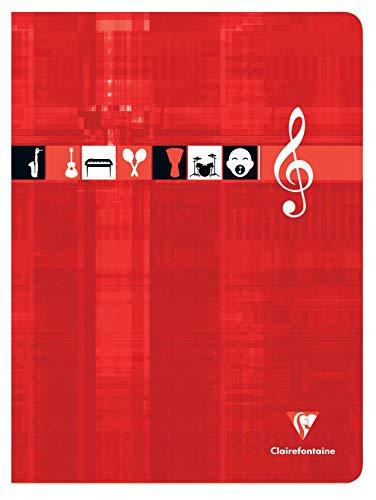 Clairefontaine 3307C - Un cahier piqué de musique et chants 48 pages 24x32 cm 90g grands carreaux et portées, couverture carte pelliculée couleur aléatoire