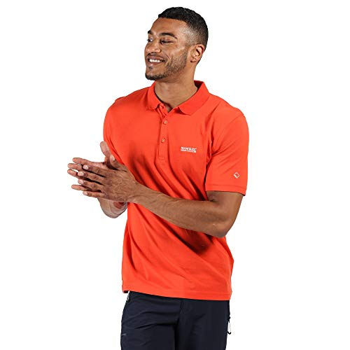 Regatta Polo Technique Sinton léger et Respirant avec col côtelé T-Shirts Vests Homme, Burnt Salmon, FR : 3XL (Taille Fabricant : XXXL)