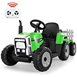 METAKOO Ride on Tractor 12V 7Ah, Kids Electric Tractor with Remote Control, 2+1 Gear Shift, 7-LED Headlight, Horn Button/ MP3/ Bluetooth/ USB Port, Toy Tractor with Trailer for Kids 3-6 Years(Green)
