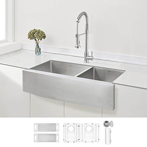 ZUHNE Stainless Steel Double Basin Farmhouse Sink 60/40 (36-Inch Curved Apron Front)