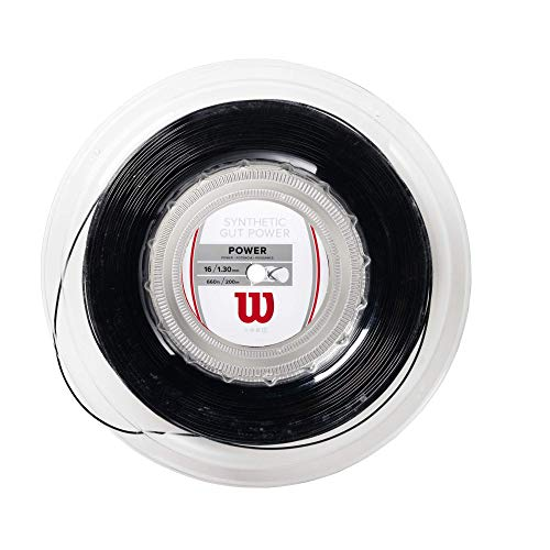 Wilson Synthetic Gut Power Cordaje De Tenis, Rollo 200 M, Unisex, Negro, 1.30 Mm