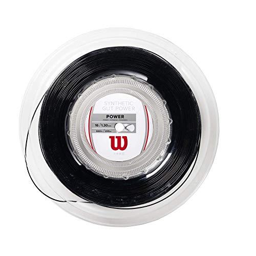 Wilson Synthetic Gut Power Cordaje de tenis, rollo 200 m, unisex, negro, 1.30 mm