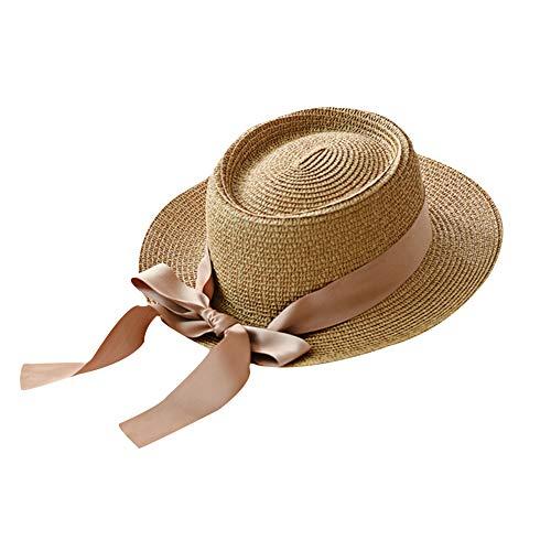 JUNGEN Sombrero de Paja de Mujer con Lazo de Cinta Sombrero de ala Ancha Sombrero de protección Solar de Verano para Playa Viajes Elegante Sombrero de Copa 56-58cm (Caqui)