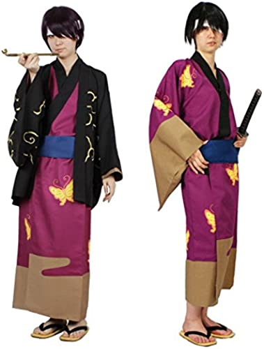 Gintama Takasugi Shinsuke kimono haori pipe set of 3 free Größe Cosplay Costume (japan import)