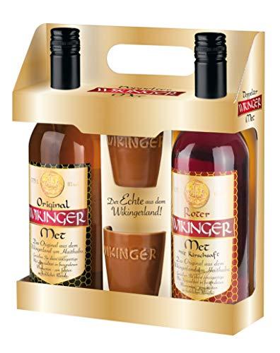 Original Wikinger Met + Roter Wikinger Met im Geschenkset | 2x0,75L inkl. 2 Becher | Honigwein aus der Wikingerland Haithabu | fruchtig aromatisch | Das Original