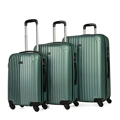 ITACA - Juego Maletas de Viaje 4 Ruedas Trolley Set 3. ABS. Extensibles. Rígidas, Resistentes y Ligeras. Mango, Asas. Candado. Pequeña Cabina Low Cost, Mediana y Grande T71500, Color Aguamarina