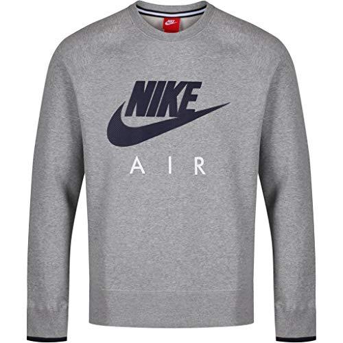 Nike AW77FLC Crew-Air Heritag Herren-Sweatshirt, Herren, Negro/Azul, L