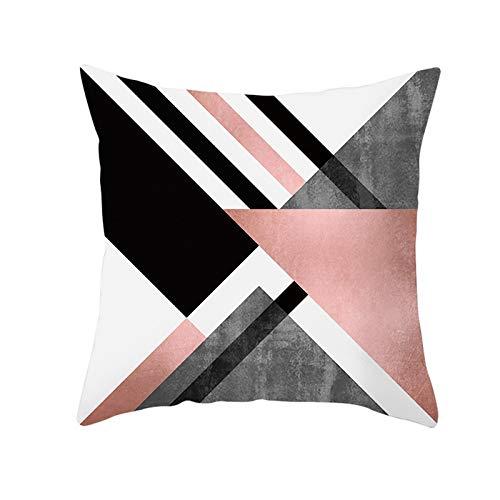 KnBoB Funda Almohada Geometría Negro Rosa Gris Poliéster 50 x 50 cm Estilo 7