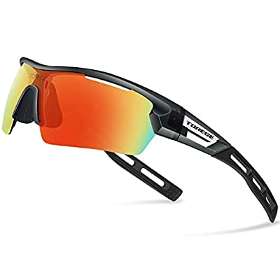 TOREGE Polarized Sports Sunglasses for Men Women Cycling Running Driving TR033(Transparent Gray&Black Tips&Red Lens)