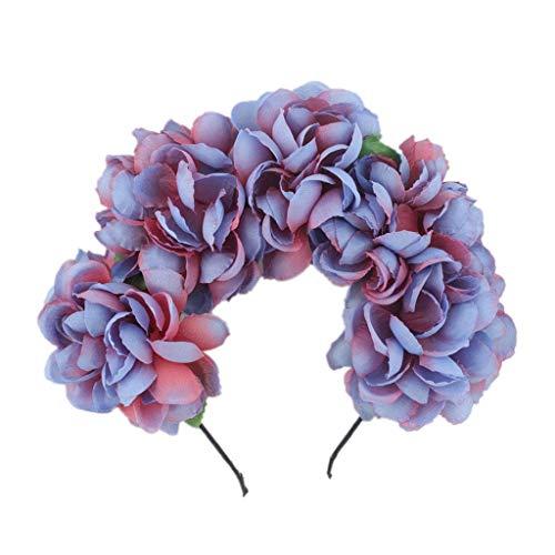 QingJiu Fascia per capelli fiore regolabile Corona per capelli Ghirlanda floreale Corona Copricapo Boho vacanza Ghirlanda Di Festa