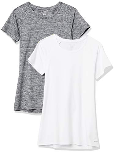 Amazon Essentials Cap-Sleeve Tech Stretch 2-Pack T-Shirt, Weiß/Schwarz, Space-Dye, XXL