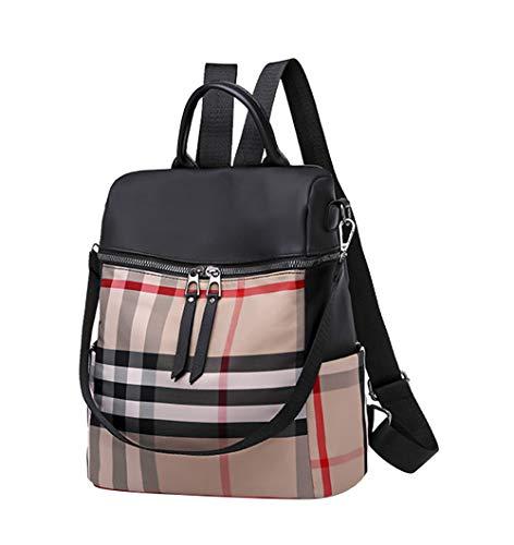 HCXIN Damen Wasserdicht Oxford-Gewebe Daypack Outdoor Travel Backpack Fashion Kariert Messenger Bag Casual College-Stil Rucksack