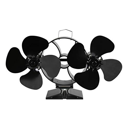 Heizbetriebener Ofenventilator mit Doppelkopf, 8 Flügeln, geräuschloser Ecofan-Holzofen, Kamin-Ventilator für Holzofen