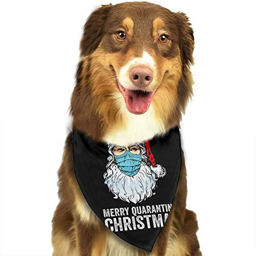 Merry Quarantine Christmas Santa Reindeer Mask Dog Bandana Scarfs for Medium and Large Pet Dogs