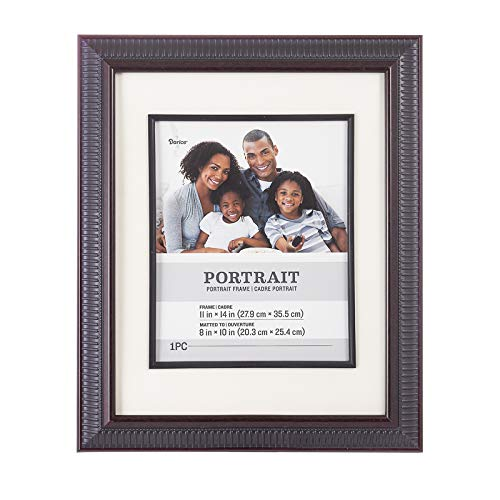 Darice Walnut, Plastic Picture Frame with Ribbed Border, 11x14 Matted to 8x10 Inches Dining Features Frames Kitchen Tabletop Wall