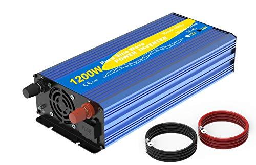 Spannungswandler 1200w/2400w 24V auf 230V Reiner Sinus Wechselrichter -Inverter Konverter mit 2 EU Steckdose