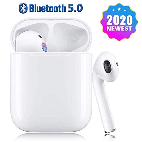 Wireless Earbuds, True Bluetooth Wireless Headphones in-Ear, Noise Canceling Sports Headset IPX7 Waterproof, Pop-ups Auto Pairing with Charging Case, for Android/iPhone/Apple Airpods/Samsung