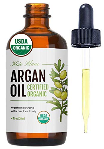 Moroccan Argan Oil, USDA Certified Organic, Virgin, 100% Pure, Cold Pressed by Kate Blanc. Stimulate Growth for Dry and Damaged Hair. Skin Moisturizer. Nails Protector. (Light 4oz)