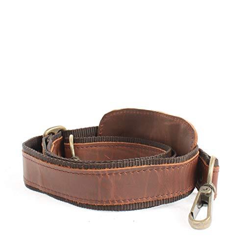LECONI Trageriemen Leder Nylon Schulterriemen breiter Schultergurt für Taschen Umhängegurt längenverstellbar 4x115cm braun LEC-R1