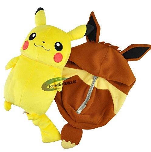 DOUFUZZ Süße Pokemon Spielzeug Cartoon Schlafsack Pikachu Eevee Plüsch Spielzeug Kissen gefüllt Anime Puppe Kinder Geburtstagsgeschenk 30cm braun 1 STK