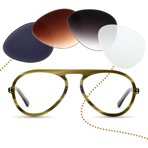 Sym Pilot Brille mit Sehstärke von -4,00 bis +4,00 mit auswechselbaren Gläsern in 6 Farben für Kurzsichtigkeit und Weitsichtigkeit - Herren - Club Kollektion Modell Tresor grün