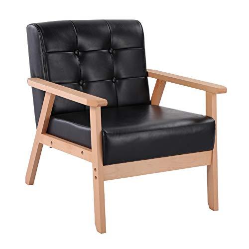 setsail Sessel PU Leder Retro Lounge Sessel Holzsessel Relaxsessel Wohnzimmersessel mit Armlehne für Wohnzimmer Schlafzimmer Schwarz