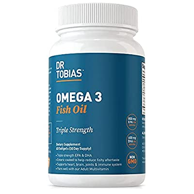 Dr. Tobias Omega-3 Fish Oil, Triple Strength, Supports Brain & Heart Health, 2000 mg per Serving