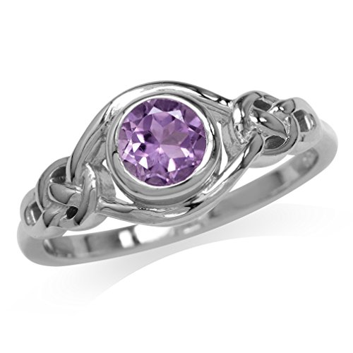 Silvershake Natural Amethyst White Gold Plated 925 Sterling Silver Celtic Knot Ring Size 6
