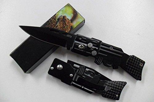 La Petite Caverne- Petit Couteau de Poche Massif Forme Fusil AK47 Lame Acier 7 Cm Manche Acier 9 Cm